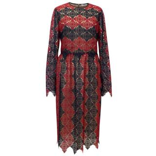 Erdem Red And Navy Lace Midi Dress