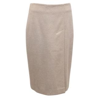 MaxMara Beige Wool Pencil Skirt