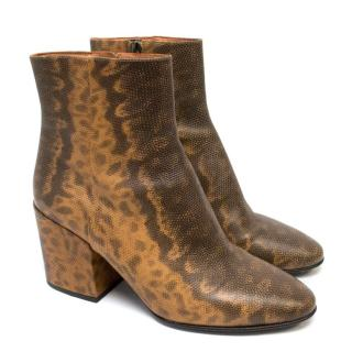 Dries Van Noten Faux Lizard Print Ankle Boots