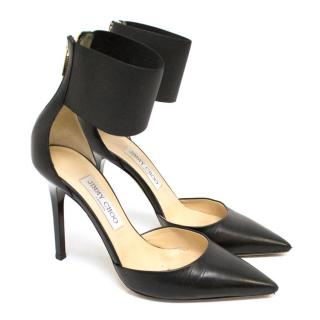 Jimmy Choo Pointed Toe Heels With Black Cuff Strap Detail