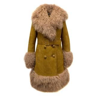 Gucci Tan Shearling And Suede Belted Coat
