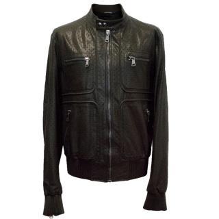 Dolce & Gabbana Black Buffalo Leather Breathable Bomber Jacket
