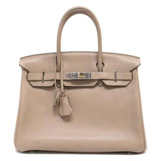 Hermes 30 cm Etoupe Birkin In Clemence Leather