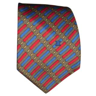 Celine blue and red silk tie