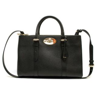 Mulberry Bayswater Small Black Double Zip Tote Bag