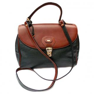 Bally Vintage Brown and Green Leather Shoulder / Crossbody Bag