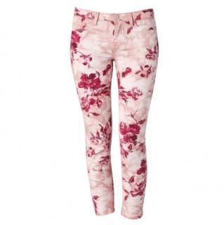 J BRAND 835k Mid-Rise Capri Pink Floral Print Jeans