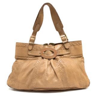 Anya Hindmarch Tan Python Skin Handbag
