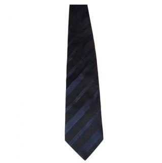 BOSS Black and Navy thick stripe tie
