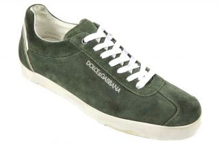 Dolce&Gabbana Men's Green Suede Trainers Sneakers New Heritage Vintage