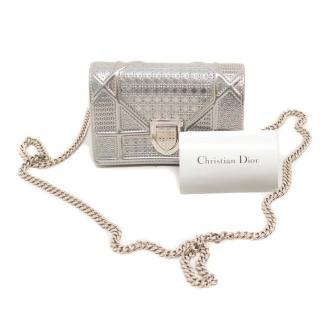 Christian Dior Diorama MIcro Pouch In Silver