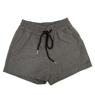 Comino Couture Grey Wool Drawstring Shorts
