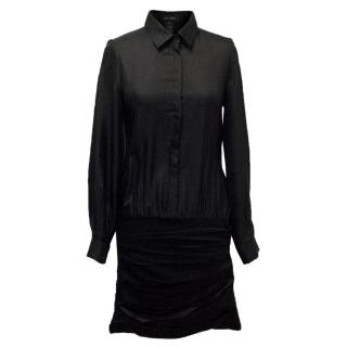 Jay Ahr Black Silk Dress With Ruched Skirt