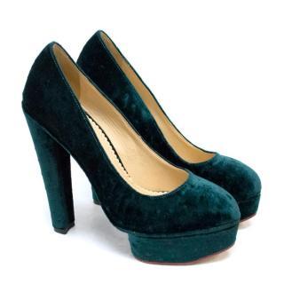 Charlotte Olympia 'The Dolly' Green Velvet Platform Heels