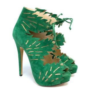 Charlotte Olympia 'Eve' Green Suede Laser Cut Booties