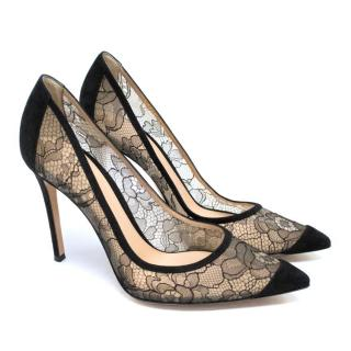 Gianvito Rossi Black Lace And Suede Shoes