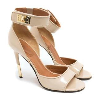 Givenchy Nude Patent Shark Lock Open Toe Heeled Sandals