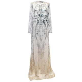 Balmain Long Sleeve Silk Print Maxi Dress With Side Slits