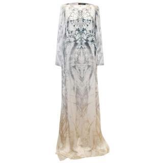 Balmain Long Sleeve Silk Print Maxi Dress With Side Slits