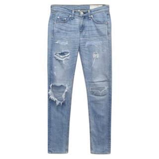 Rag and Bone Blue Denim Ripped Jeans