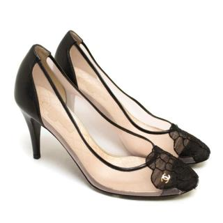 Chanel Mesh Round Toe Pumps With Lace Camellia
