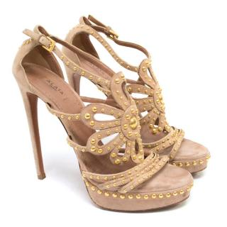 Alaia Beige Suede Sandals With Gold Studs