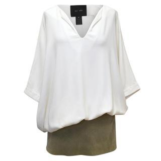 Jay Ahr Cream Dress With Khaki Textured Hem