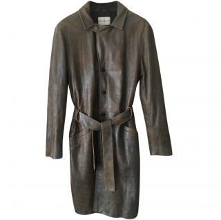 Emporio Armani Stone Washed Leather Trench Coat