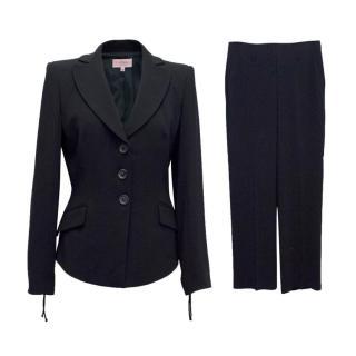 La Perla Navy Trouser Suit With Wide Leg Trousers