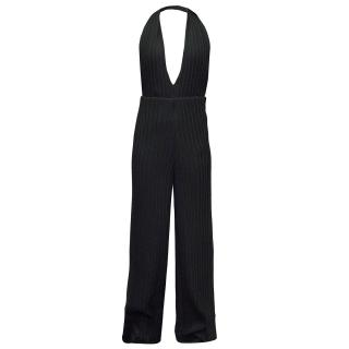 Black Pleated Wide Leg Jumpsuit