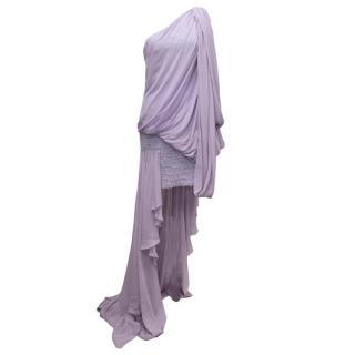 Elie Saab Lilac Silk One Shoulder Dress