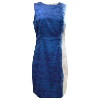 Elie Tahari Blue And White Print Pencil Dress With Exposed Zip