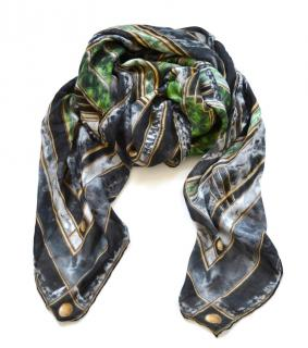 Balmain large printed modal and cashmere-blend scarf