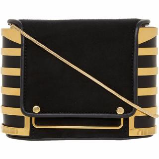 Emanuel Ungaro Black & Gold Suede Bag/Clutch