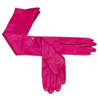 Designer MSGM Hot Pink Long Angelo Lamb Leather Size S with Diamante