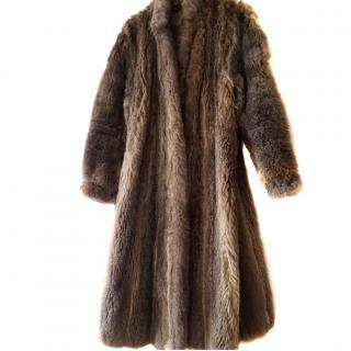 Ocelot-style Bespoke full length fur coat size 16