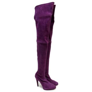 Casadei Suede Purple Thigh High Sock Boots