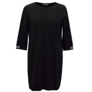 S'MaxMara Black Knit Dress With White Striped Sleeves