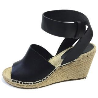 Celine Black leather Espadrilles wedges