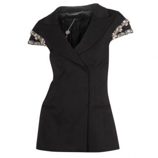Alberta Ferretti Wool Black Jacket W/Beaded Shoulders