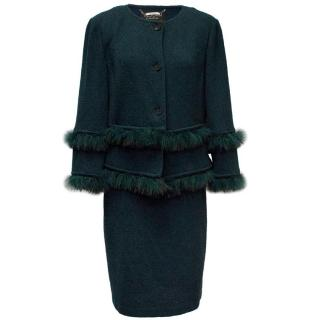 St John Couture Green Marabou Suit