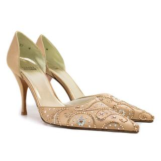 Stuart Weitzman Gold Encrusted Pointy Pumps