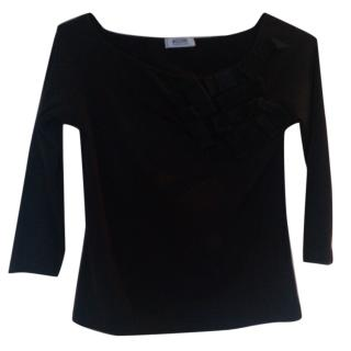 Moschino black top with 3/4 sleeves and bows
