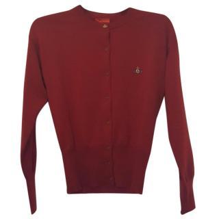 Vivienne Westwood dark red wool cardigan size 14