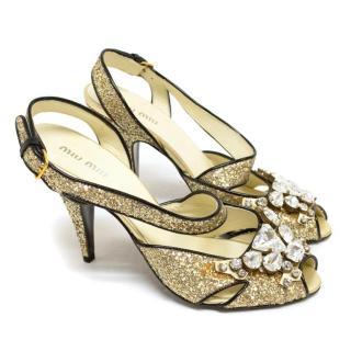 Miu Miu Gold Glitter Slingback Heels With Gems