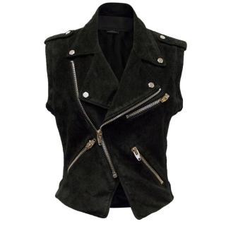 Alexander Wang Black Suede Sleeveless Jacket