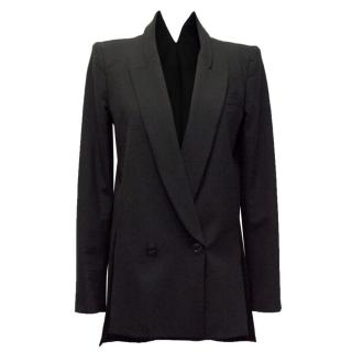 Theyskens' Theory Black Long Blazer With Collar Back Detail