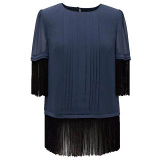 Alice by Temperley Navy Fringed Blouse