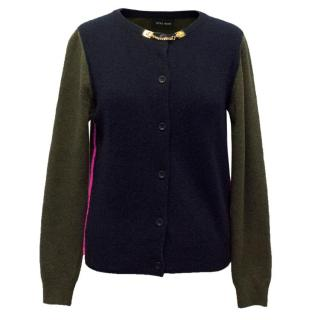 Sophie Hulme Navy And Khaki Cardigan