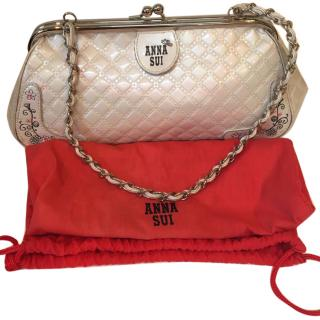 Anna Sui pearlised white chain bag with dust bag